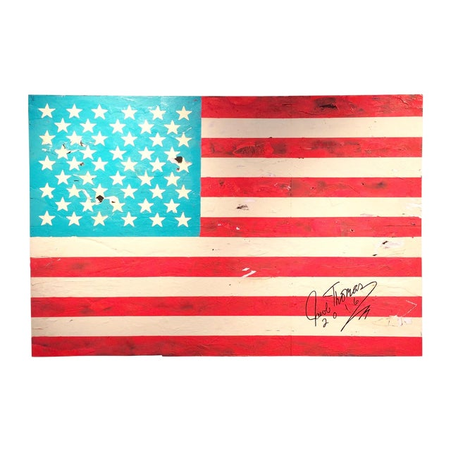 Jacob Thomas 'Distressed American Flag' Painting - Image 1 of 3