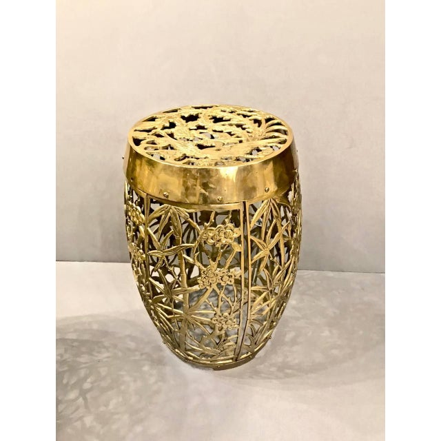 This is a superb pair of cast brass garden stools with open work brass casting of bamboo and cherry blossoms. The top...