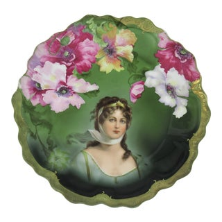 Antique Zeh Scherzer & Co. (z.s. & Co.) Bavaria, Queen Louise of Prussia Portrait Plate With Gilt Scalloped Rim For Sale