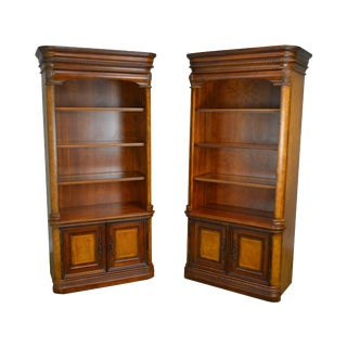 Cherry & Burl Wood Pair of Bookcases Display Cabinets For Sale