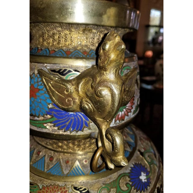 Large Oriental Champleve Cloisonne Urn on Stand For Sale - Image 10 of 13