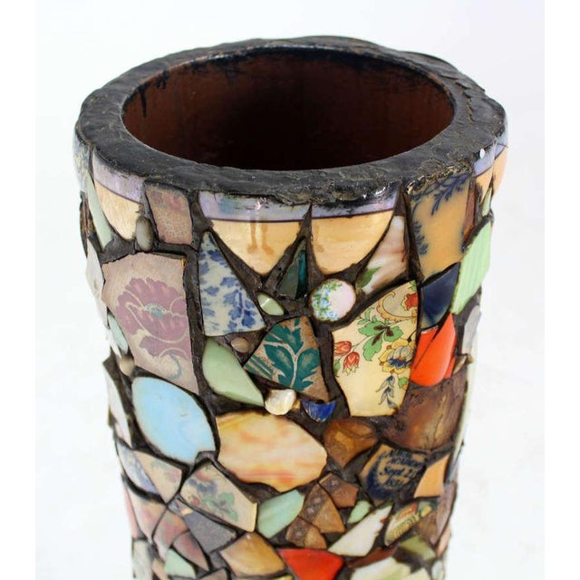 Mosaic Heavy Pottery Cane or Umbrella Stand - Image 4 of 10