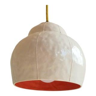 Contemporary Handmade White Ceramic Pendant Light by kRI kRI Studio For Sale