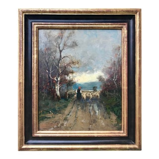 Antique Impressionist Oil Painting Landscape Woman With Sheep For Sale