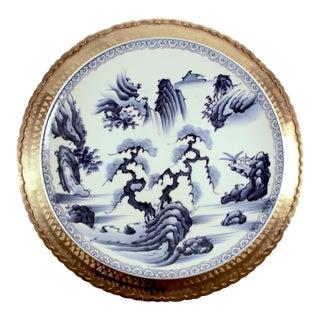 Large Vintage Brass & Meiji Period Imari Blue & White Porcelain Platter Set - a Pair For Sale