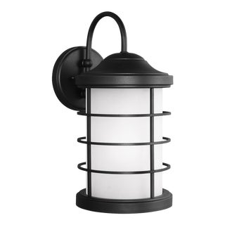 August Large One Light Outdoor Wall Lantern, Black For Sale