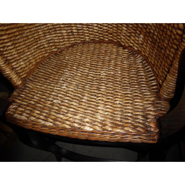Tiki Palm Beach Style Woven Wicker Bar Stools - A Pair - Image 9 of 11