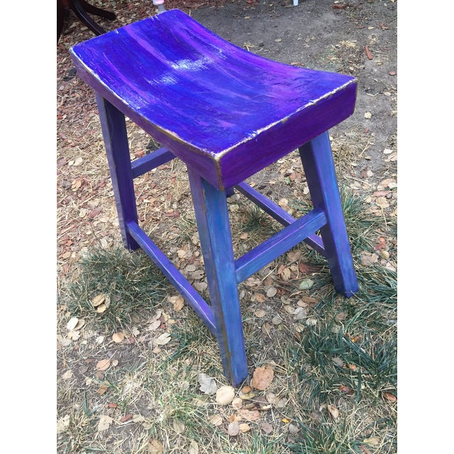 Asian Hand-Painted Violet Saddle Seat For Sale - Image 3 of 5