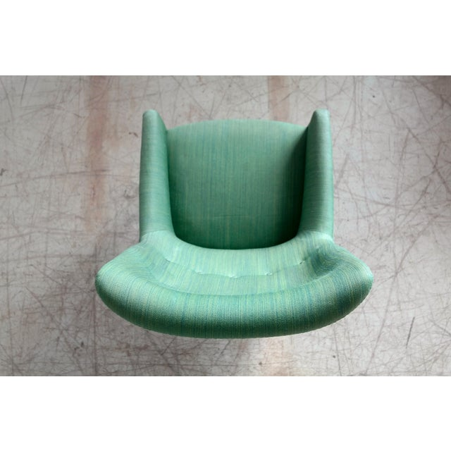 Danish 1950's Green Easy Chair With Footstool by Jacob Kjaer For Sale In New York - Image 6 of 12