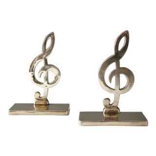 Vintage Brass Treble Clef Bookends - A Pair