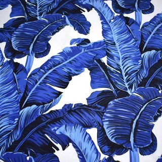 Blue & White Banana Leaf Cotton Fabric For Sale