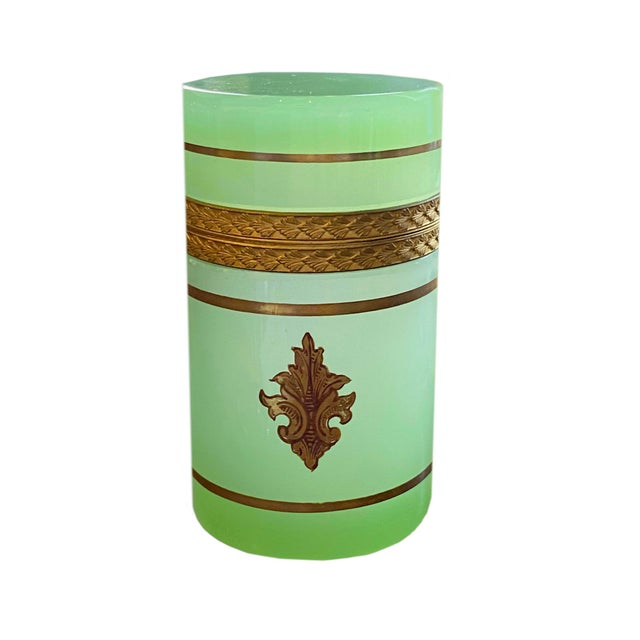 French Early 20th Century French Green Opaline Casket For Sale - Image 3 of 7