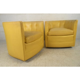 Pair of Yellow Vintage Modern Tub Chairs by Henredon Preview