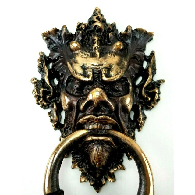 This is quite the find! This Gothic Demon Devil Cast Iron door knocker is in excellent condition. Please see photos for...