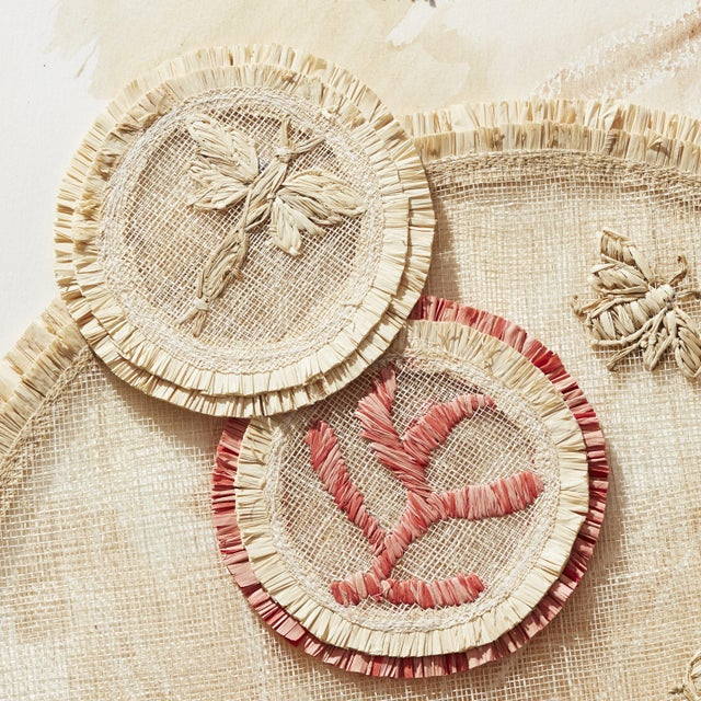 2020s Coral Straw Coasters, Set of 4 For Sale - Image 5 of 8