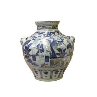 Chinese Blue White Porcelain People Scenery Foo Dog Accent Vase Jar