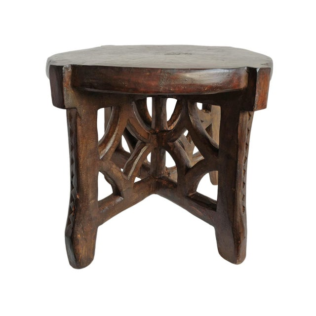 Wood Consigned Tanzania Wood Stool For Sale - Image 7 of 7