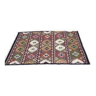 Caucasian Shirvan Woven Geometric Rug with Dark Blue Border 9 x 6 For Sale