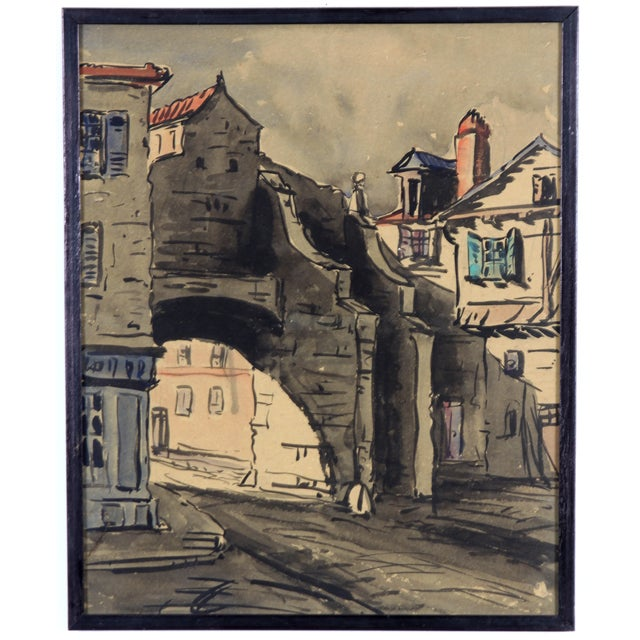 Monory Cobbled French Street 1930 Watercolor - Image 1 of 5