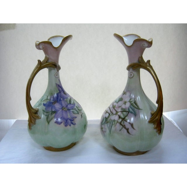 Antique Hand Painted Unsigned Limoges Ewers - A Pair - Image 3 of 8