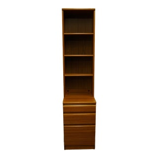 Vintage House of Denmark Danish Contemporary Modern Teak Wood File Cabinet with Bookcase For Sale