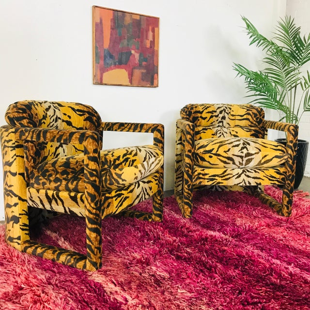 Custom Tiger Print Milo Baughman Chairs For Sale - Image 9 of 13