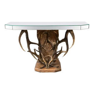 Mirrored Top & Antler Sculpture Base Console Table