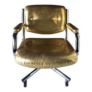 Castelli Style Metallic Mock Croc Swiveling Office Chair For Sale