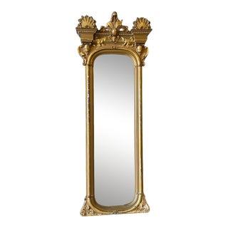 Antique Wood Floor Gold Gilt Mirror For Sale