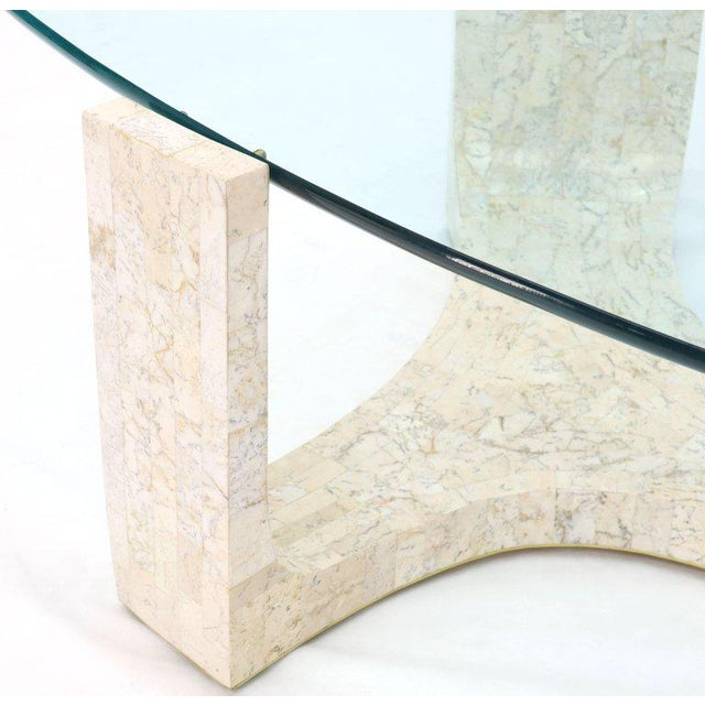 Tessellated Stone Veneer Tile Organic Kidney Shape Coffee Center Table For Sale - Image 6 of 13