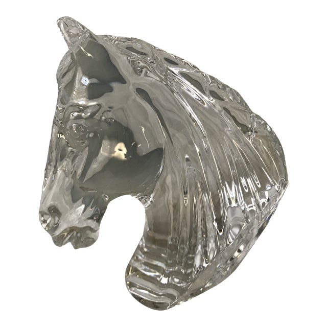 1990s Vintage Waterford Crystal Horse Head Paperweight Decorative Figure For Sale