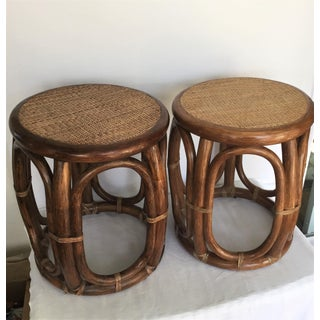 1980s Traditional John McGuire Drum Side Side Tables - a Pair Preview