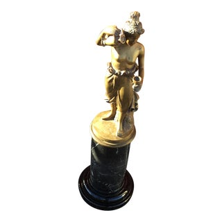 1970s Vintage Bronze and Marble Base by Maitland Smith Statue For Sale