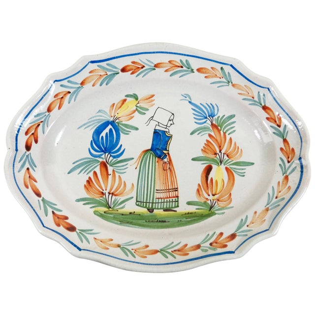 French 1920s French Provincial Henriot Quimper Faience Quimper Platter For Sale - Image 3 of 3