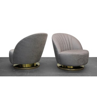 Mid Century Swivel Slipper Chairs with Brass Bases by Milo Baughman for Thayer Coggin - a Pair Preview