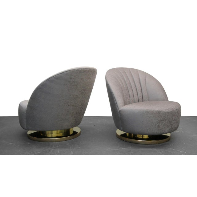 Mid Century Swivel Slipper Chairs with Brass Bases by Milo Baughman for Thayer Coggin - a Pair - Image 2 of 7
