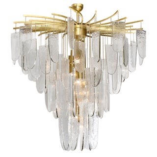 Textured Murano Glass Chandelier With Silver Leaf Edges For Sale