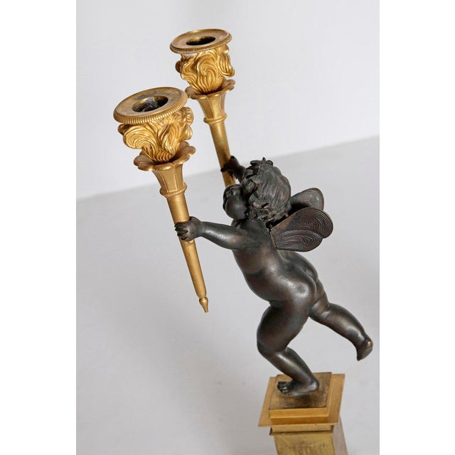 19th Century Pair of French Charles X Patinated Bronze and Gilt Figurative Candelabras For Sale - Image 5 of 13