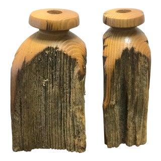 Mid Century Modern Oak Candle Holders