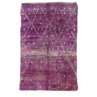 "20th Century Moroccan Berber Purple Rug with Diamond Pattern - 6'7"" X 10'2"""