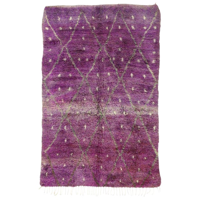 "20th Century Moroccan Berber Purple Rug with Diamond Pattern - 6'7"" X 10'2"" For Sale"