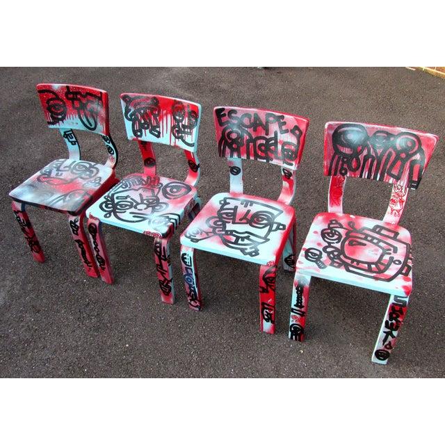 Graffiti Painted Children's Thonet Chairs - Set of 4 - Image 3 of 11