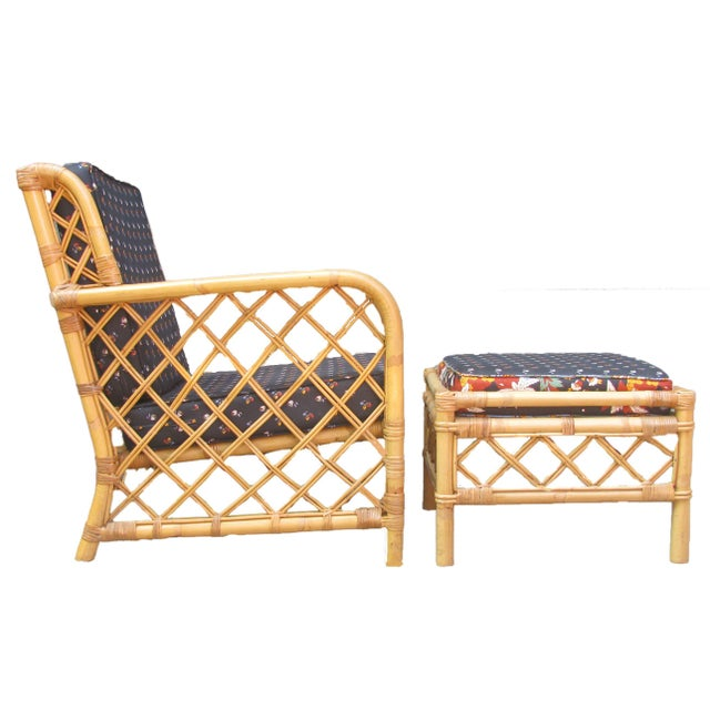 Asian Ficks Reed Bamboo Chair & Ottoman / Side Table For Sale - Image 3 of 6