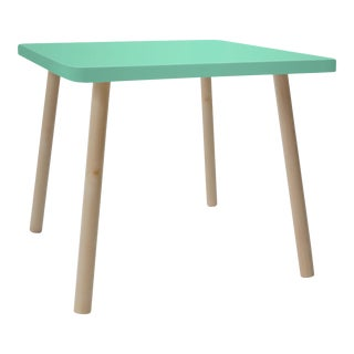 "Tippy Toe Large Square 30"" Kids Table in Maple With Mint Finish Accent For Sale"
