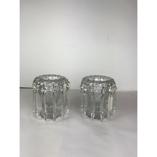 Vintage Crystal Girandoles /Luster Candle Holders - a Pair For Sale - Image 11 of 12
