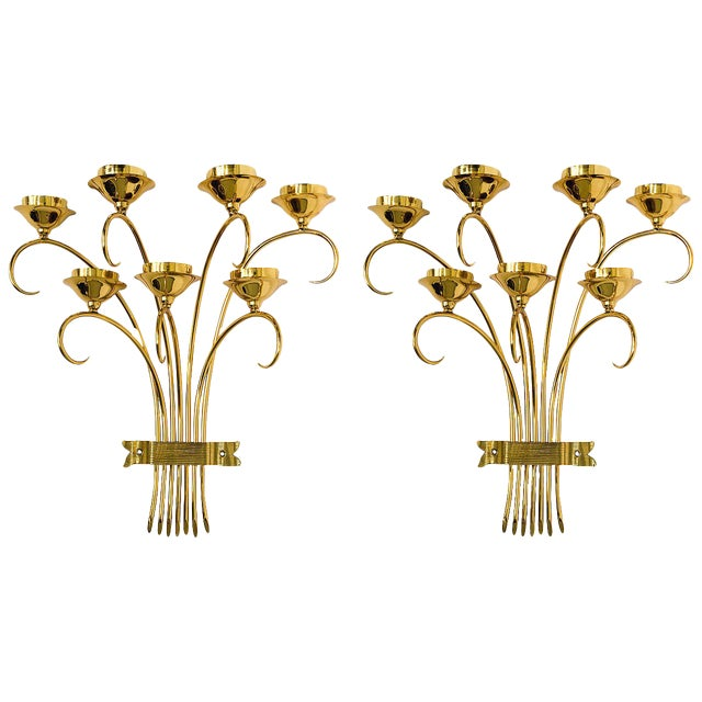 Brass Sconces Wall Lights in the Manner of Tommi Parzinger For Sale