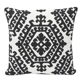 Schumacher Double-Sided Pillow in Omar Embroidery Print For Sale