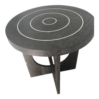 Contemporary Custom Gray Target-Pattern Side Table For Sale