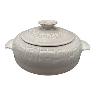 1950s Frankoma Mayan Aztec White Sand Casserole For Sale