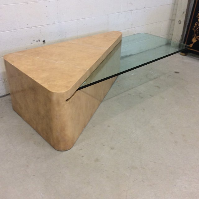 Contemporary French Contempory Style Cantilevered Glass and Faux Marble Table For Sale - Image 3 of 11
